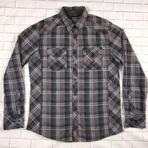 Buckle BKE Mens Western Shirt Sz M Gray Black